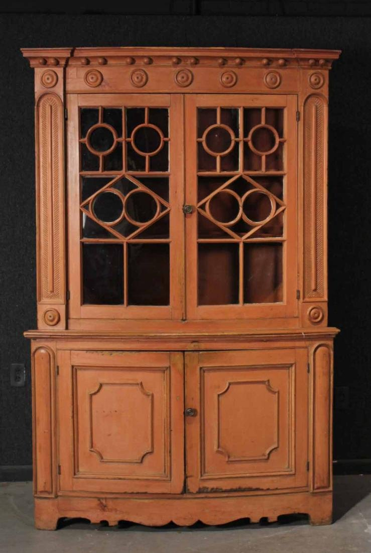 Federal Red-Painted Bow-Front Corner Cupboard
