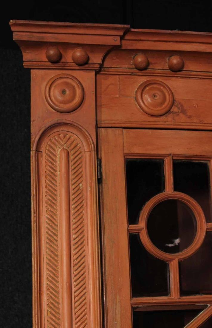 Federal Red-Painted Bow-Front Corner Cupboard - 2