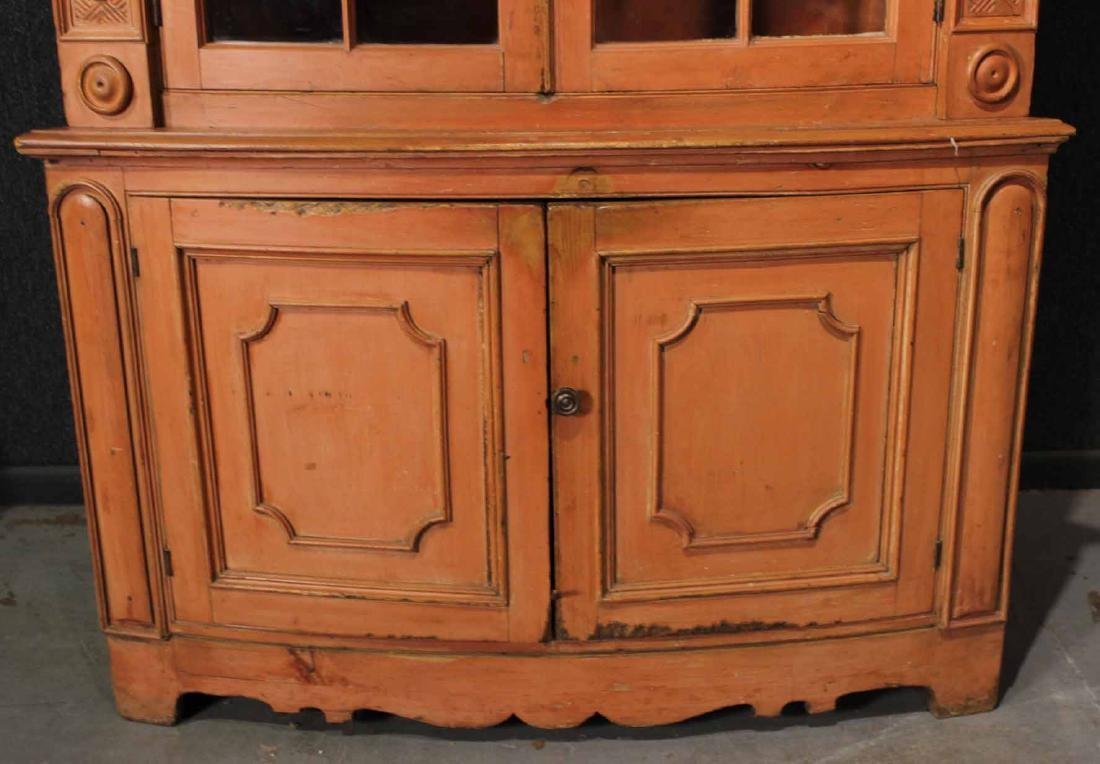 Federal Red-Painted Bow-Front Corner Cupboard - 3