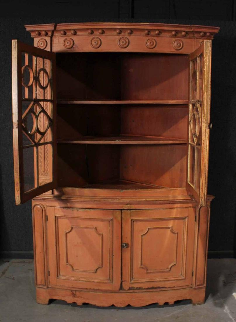 Federal Red-Painted Bow-Front Corner Cupboard - 5
