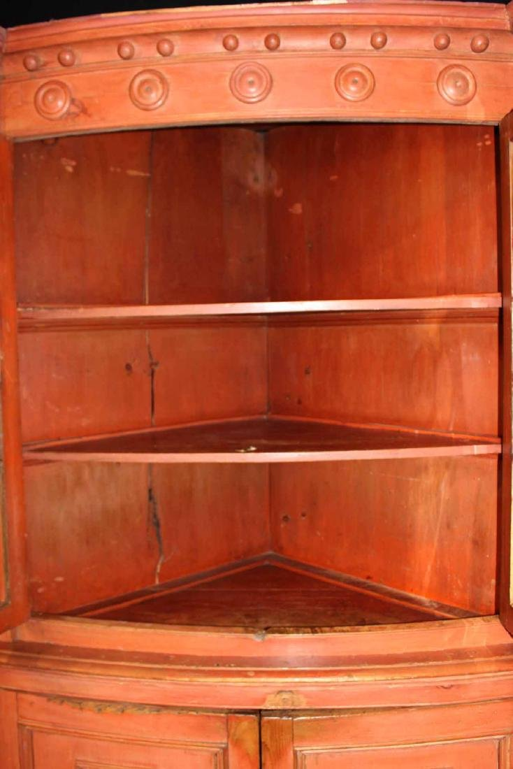Federal Red-Painted Bow-Front Corner Cupboard - 6