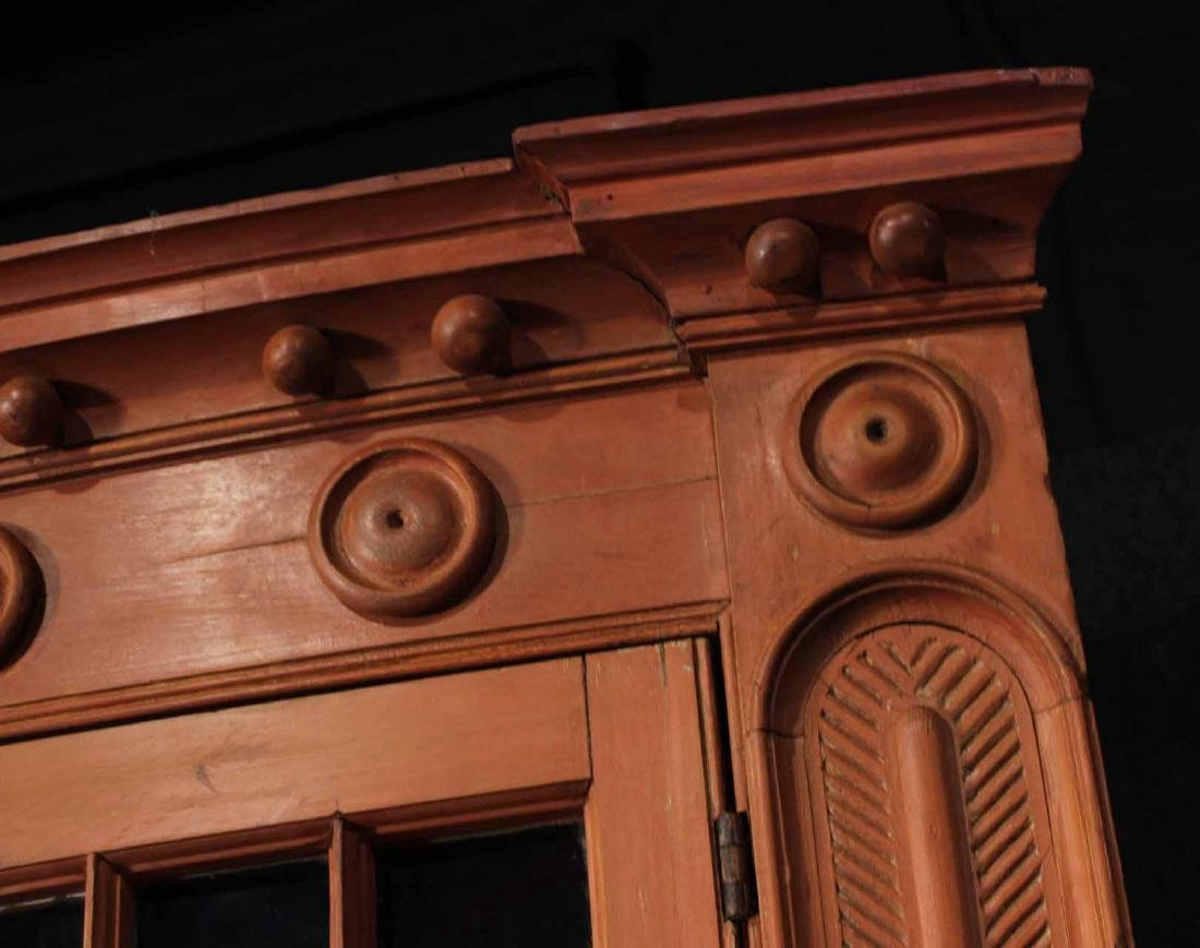 Federal Red-Painted Bow-Front Corner Cupboard - 7