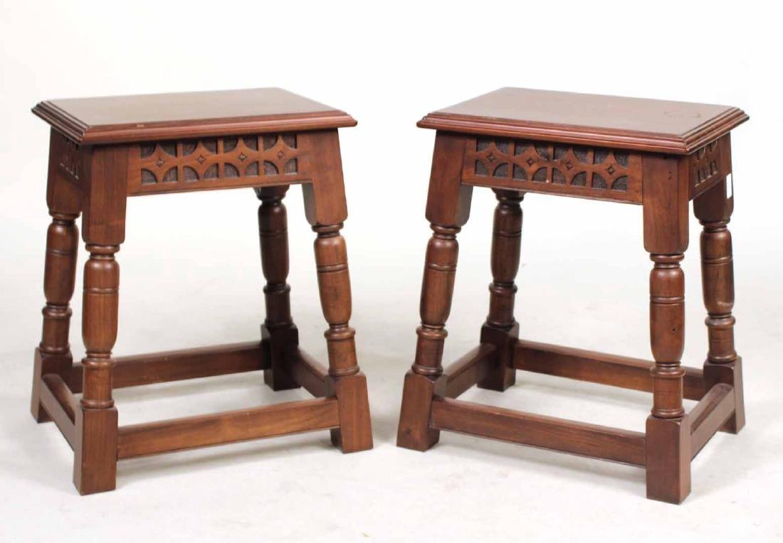 Pair of Elizabethan Style Oak Joint Stools