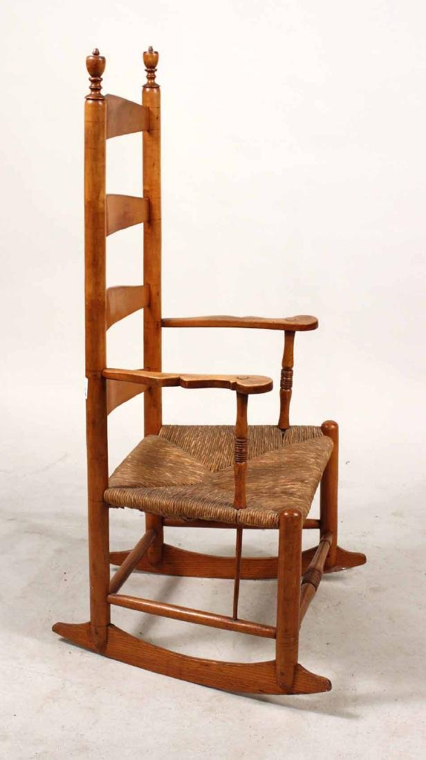 Rush Seat Maple Ladder-Back Rocking Chair - 10