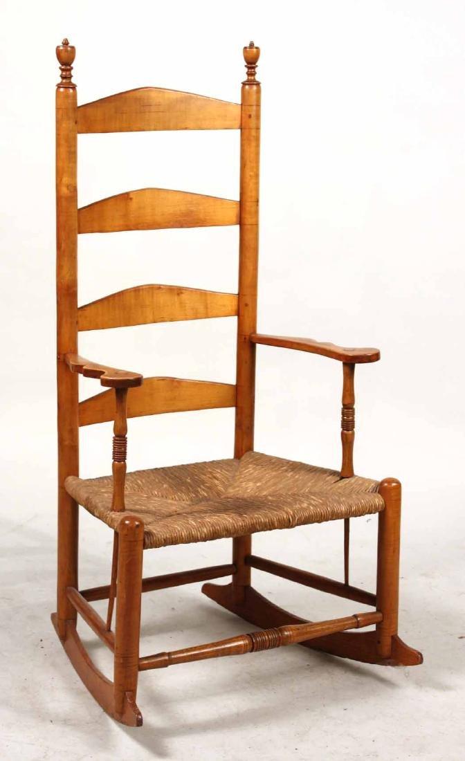Rush Seat Maple Ladder-Back Rocking Chair