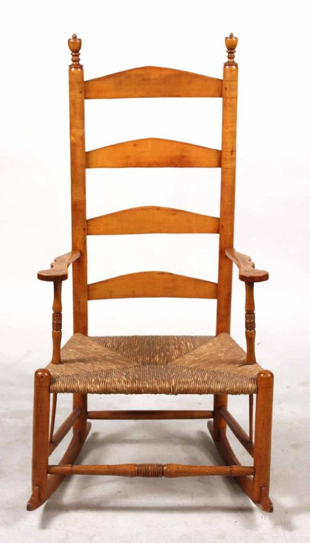 Rush Seat Maple Ladder-Back Rocking Chair - 2