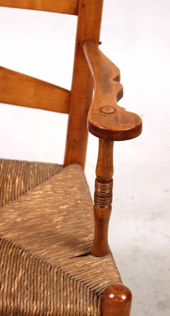 Rush Seat Maple Ladder-Back Rocking Chair - 3