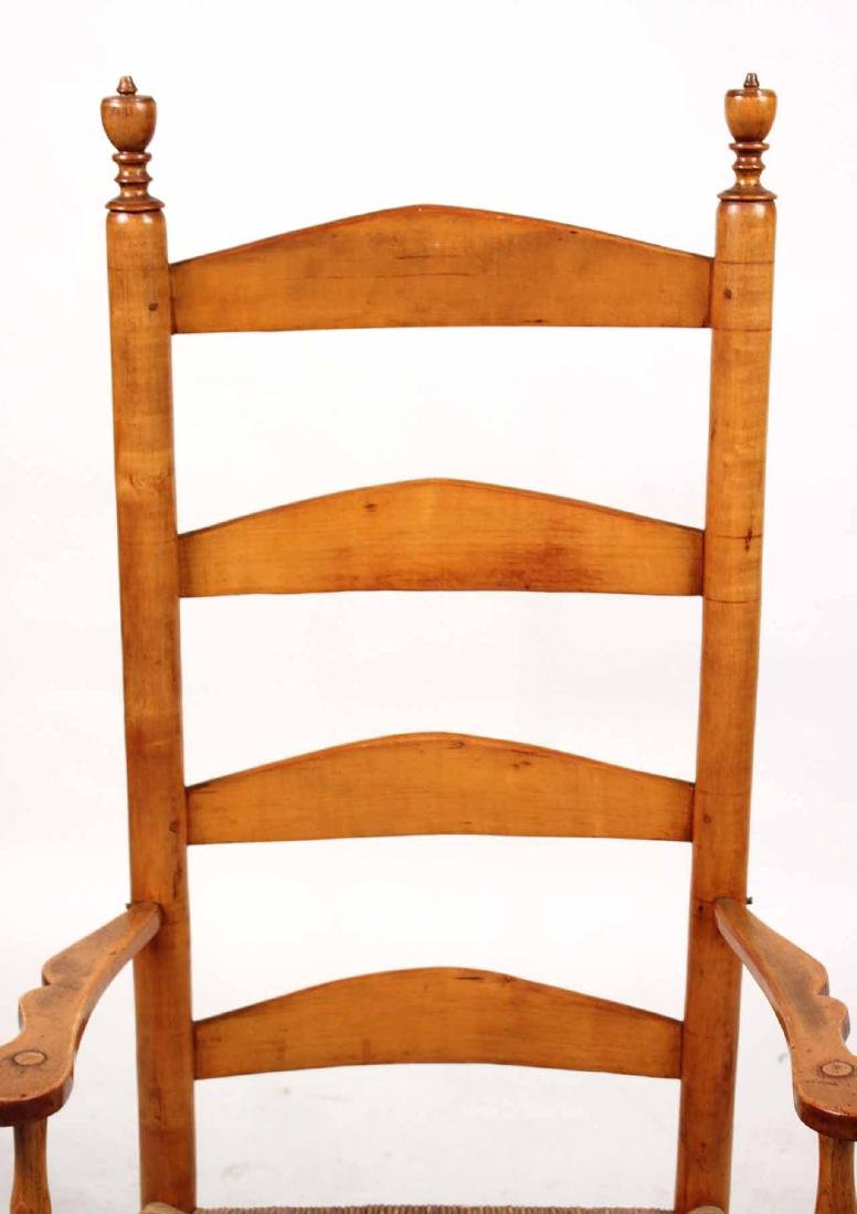 Rush Seat Maple Ladder-Back Rocking Chair - 9
