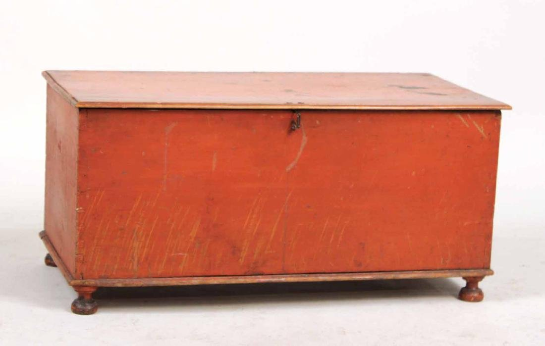 Red-Stained Wood Diminutive Blanket Chest