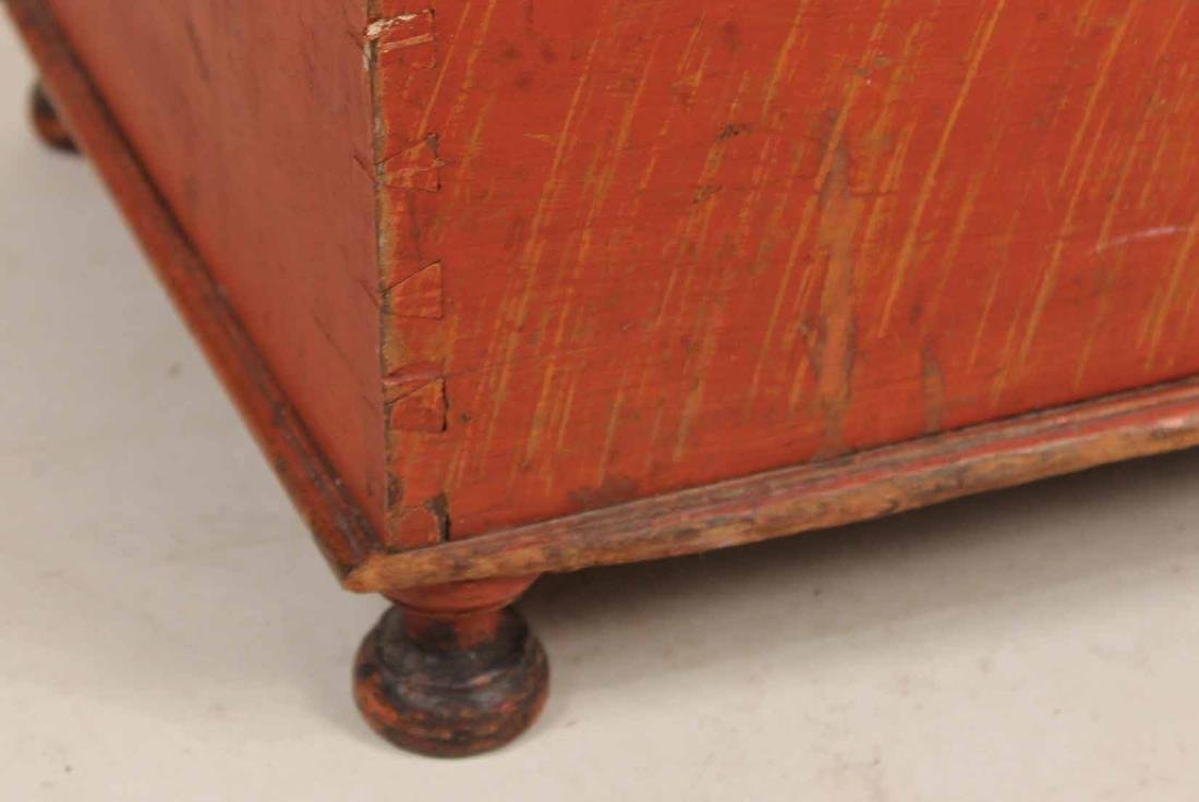 Red-Stained Wood Diminutive Blanket Chest - 2