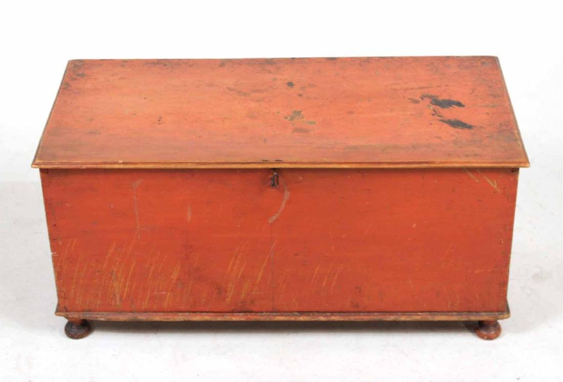 Red-Stained Wood Diminutive Blanket Chest - 3