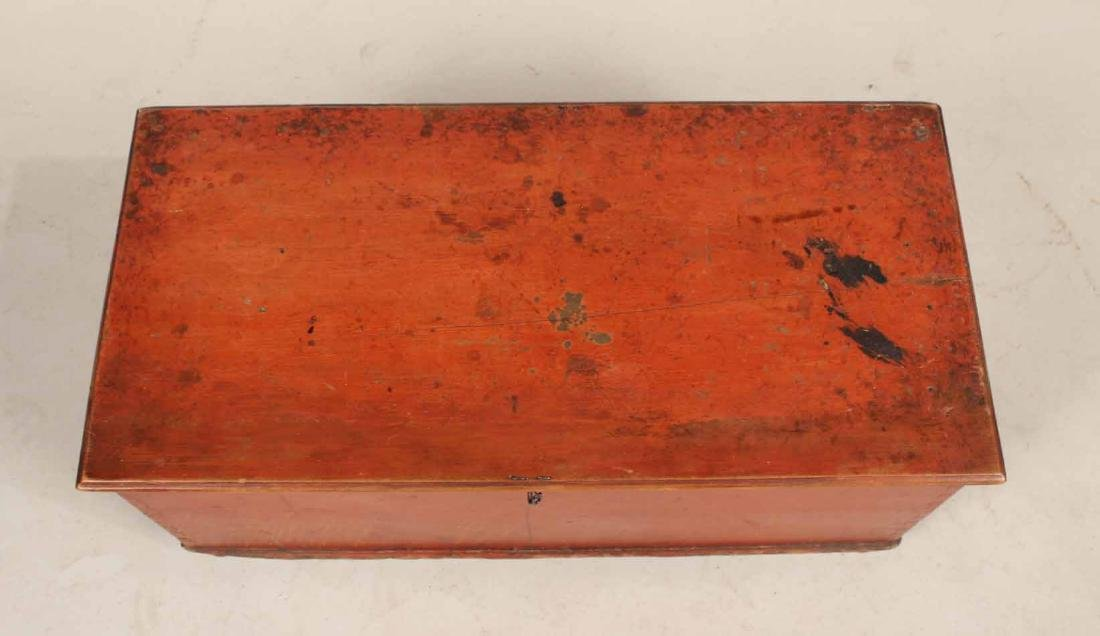 Red-Stained Wood Diminutive Blanket Chest - 4