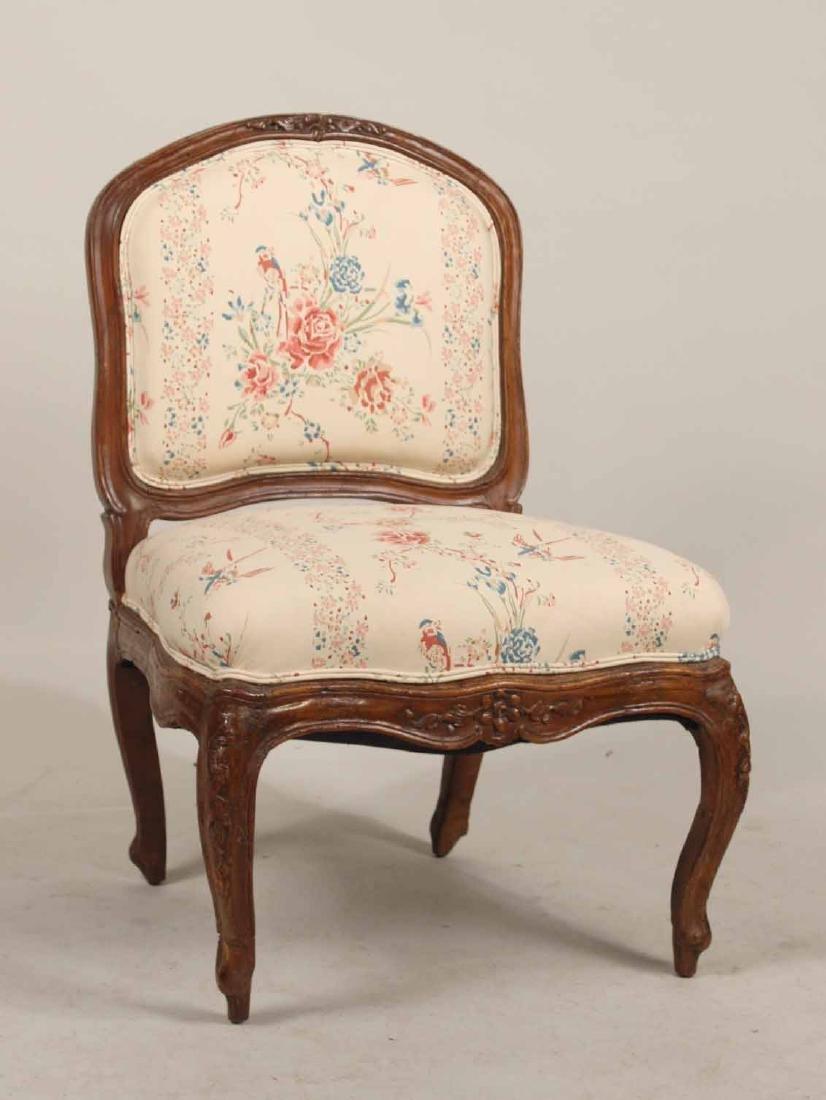 Louis XV Carved Walnut Slipper Chair
