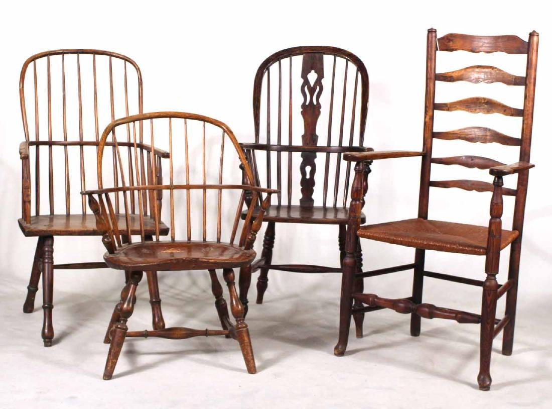 Four Yew Wood Armchairs
