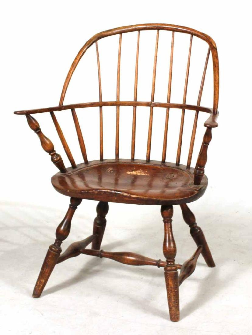 Four Yew Wood Armchairs - 7