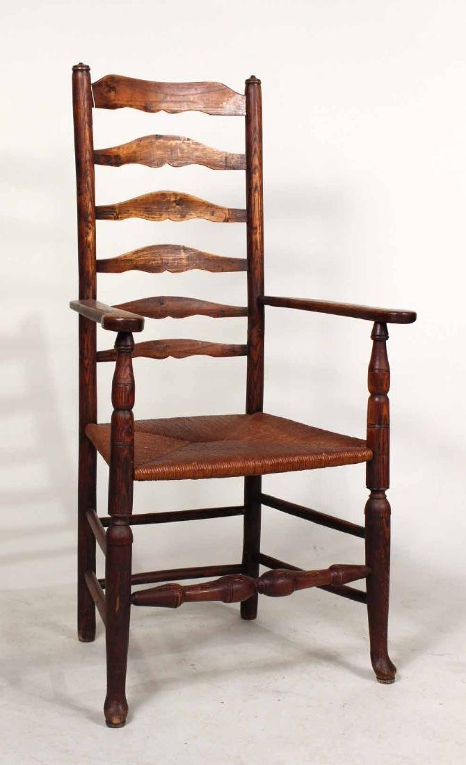 Four Yew Wood Armchairs - 9