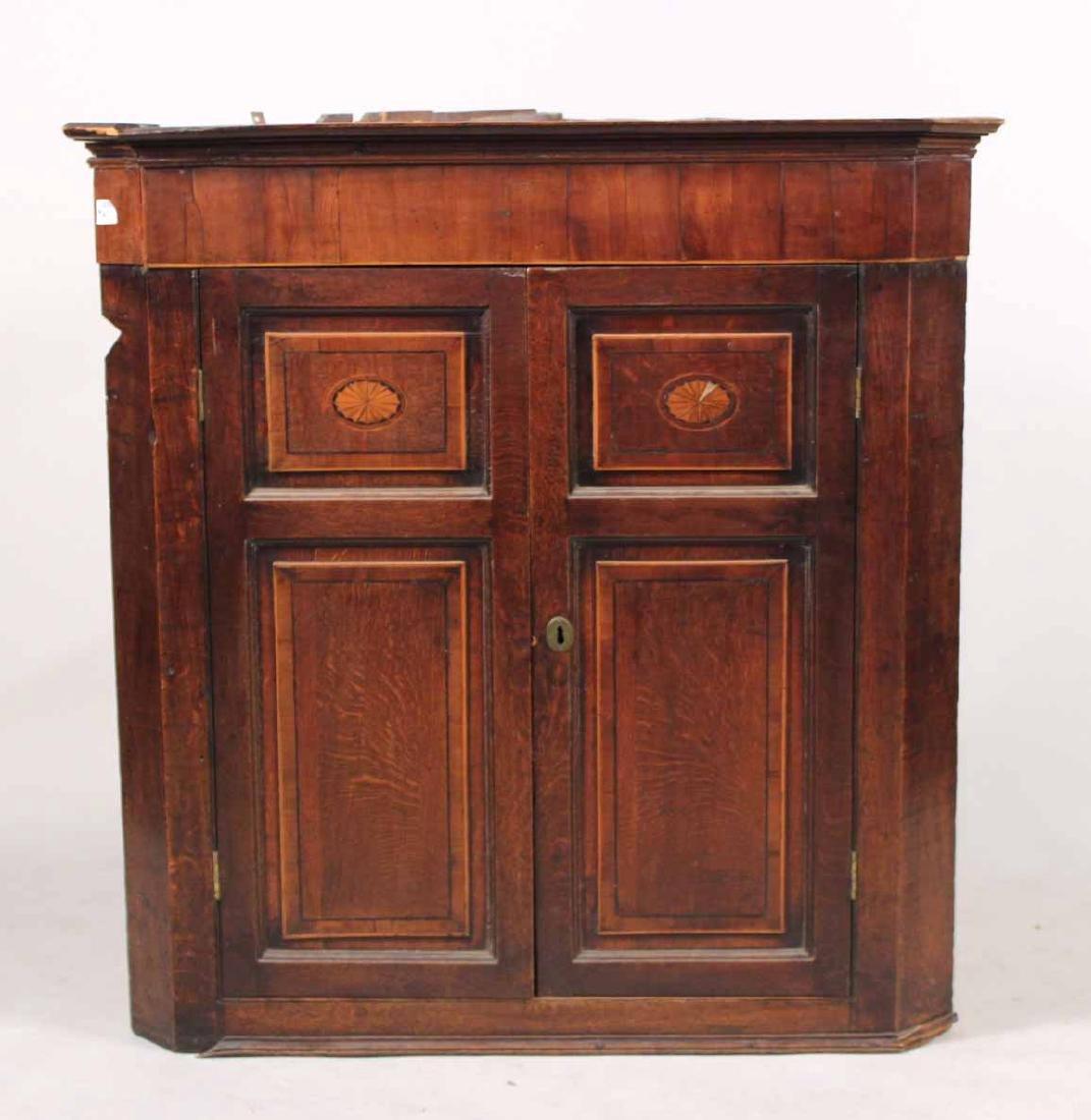 George III Inlaid Oak Hanging Corner Cabinet