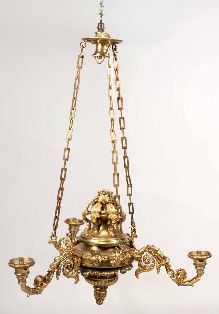Victorian Gilt-Bronze Three Light Chandelier