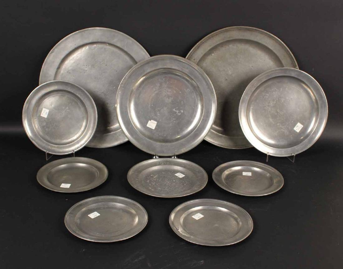 Ten Pewter Plates and Chargers