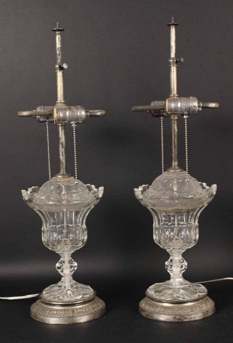 Pair of Cut-Glass Sweet Meat Dishes and Covers
