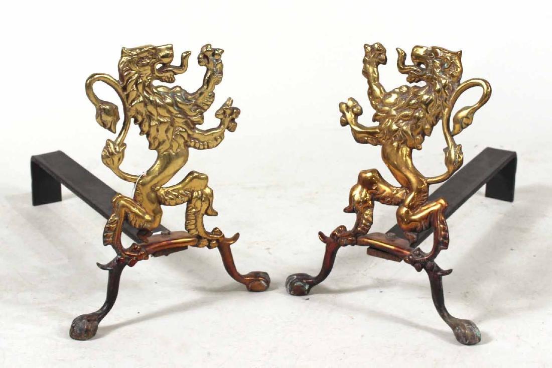 Pair of Gilt-Brass Lion-Form Andirons