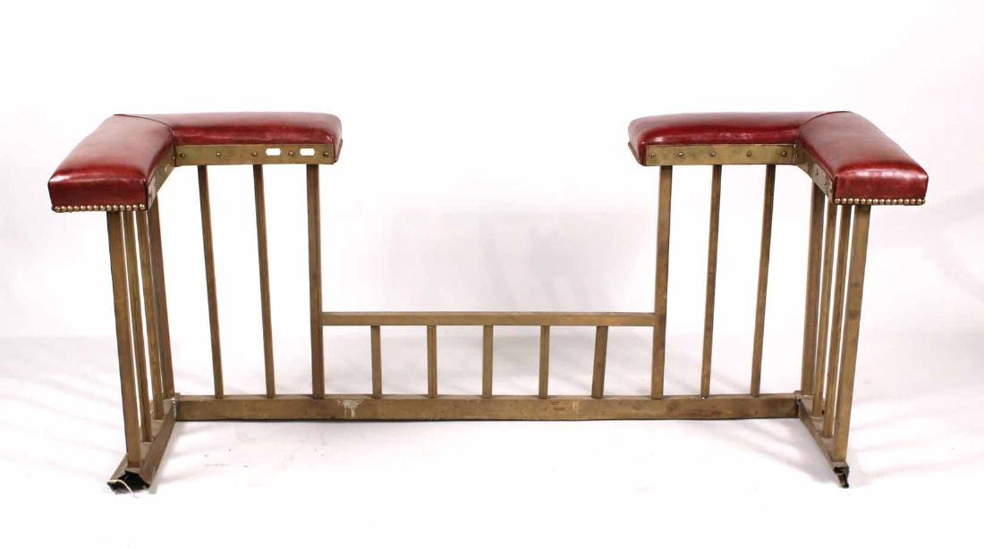 Brass and Leather Fireplace Club Fender - 5