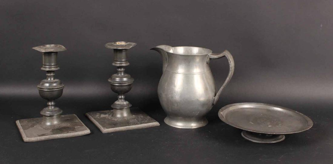 Group of Four Pewter Table Articles