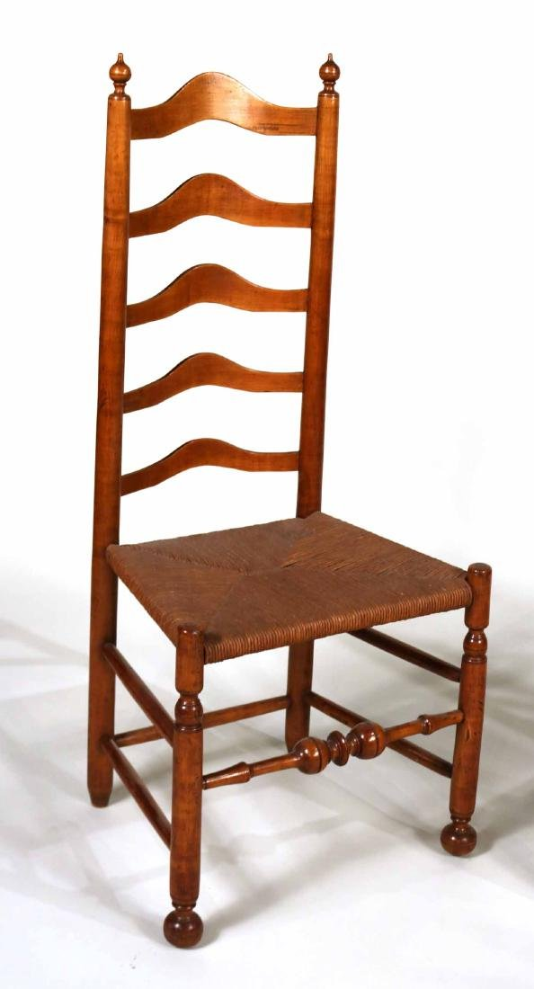 Near Pair of Ladderback Rush Seat Side Chairs - 2