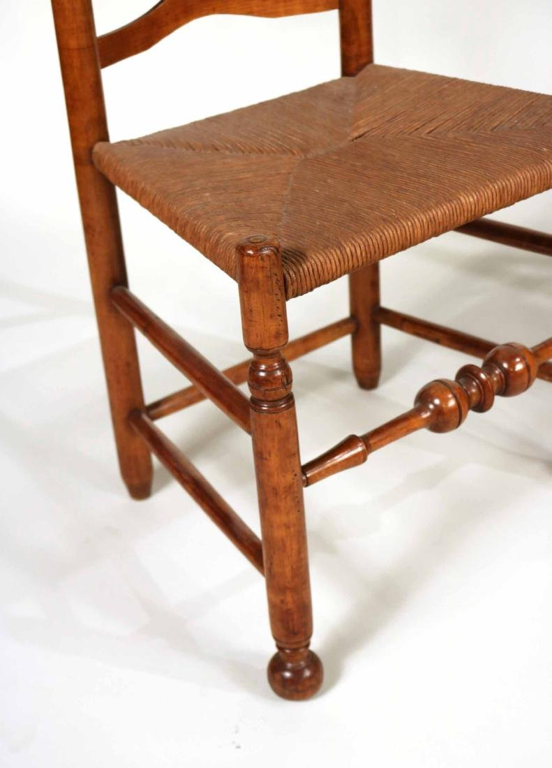 Near Pair of Ladderback Rush Seat Side Chairs - 4