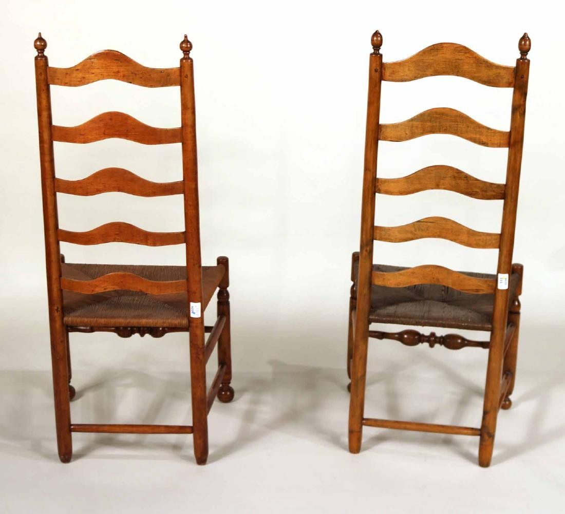 Near Pair of Ladderback Rush Seat Side Chairs - 6
