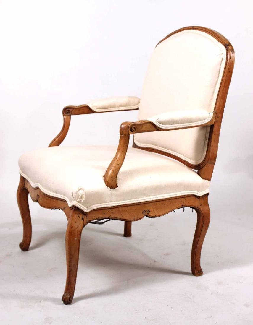 Louis XV Provincial Carved Fruitwood Fauteuil - 6