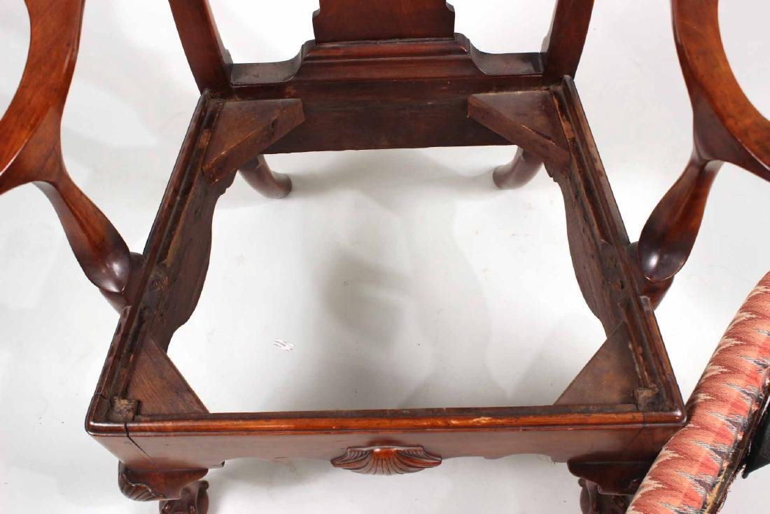 Chippendale Carved Walnut Open Armchair - 10