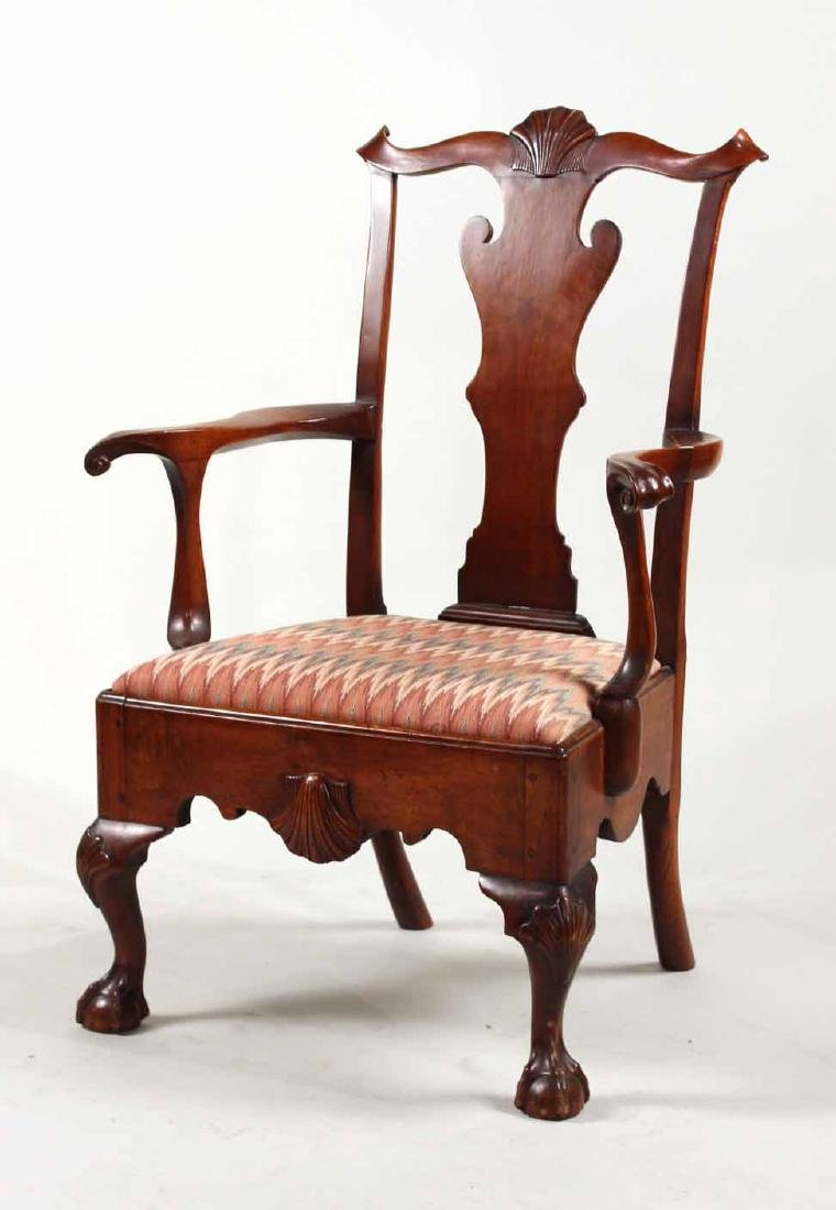 Chippendale Carved Walnut Open Armchair
