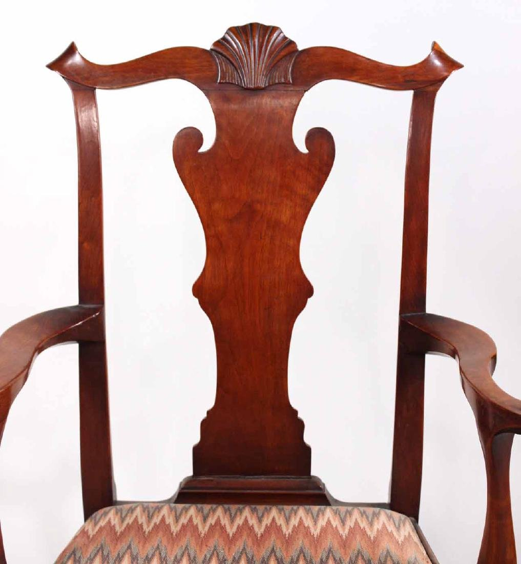 Chippendale Carved Walnut Open Armchair - 2