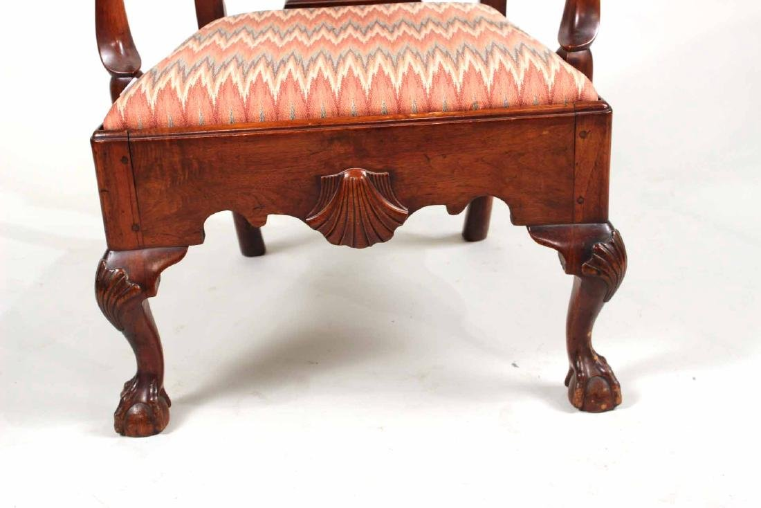 Chippendale Carved Walnut Open Armchair - 3