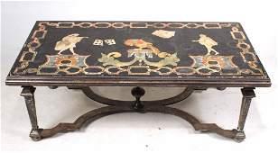 Scagliola Panel Mounted on Iron Table Base