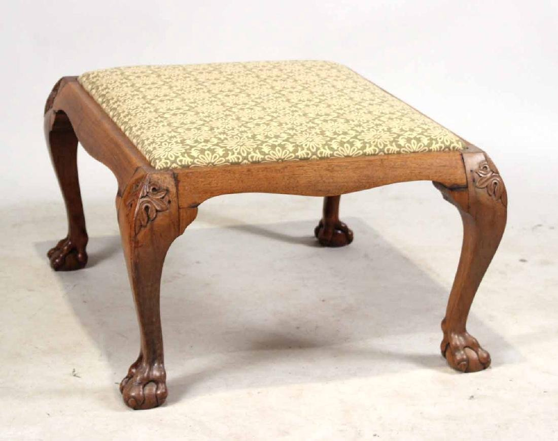 Chinese Export Carved Hardwood Footstool