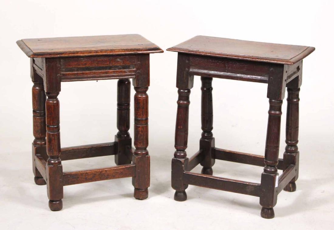 Two Jacobean Oak Joint Stools