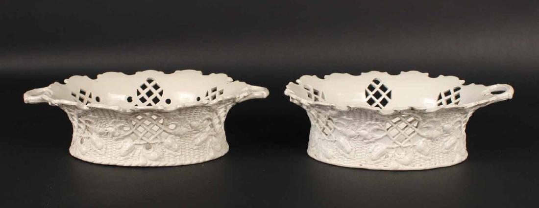 Pair of Staffordshire Salt-Glazed Oval Baskets