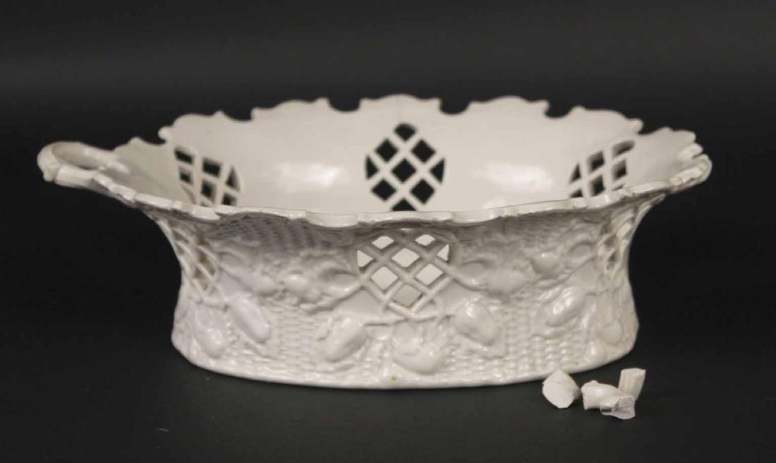 Pair of Staffordshire Salt-Glazed Oval Baskets - 8