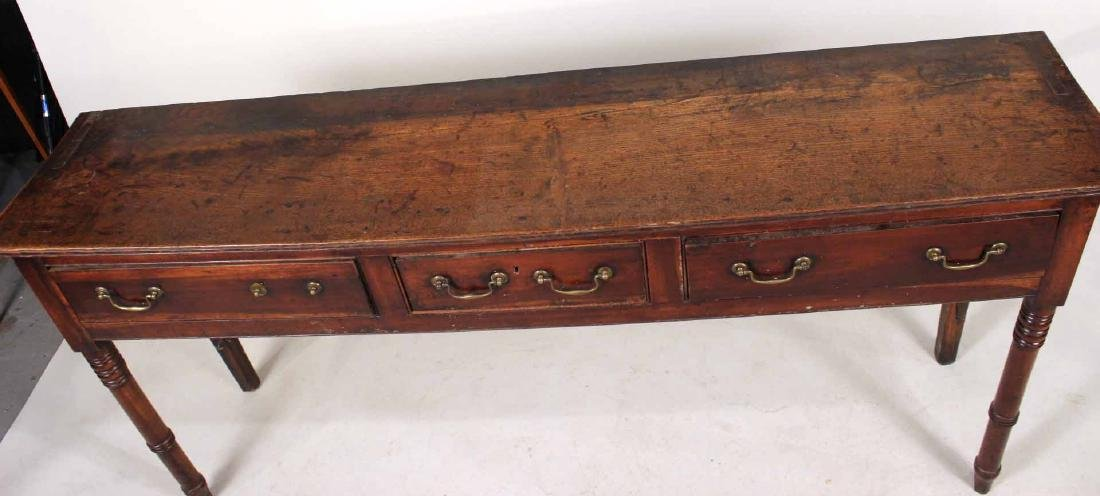 Georgian Elm Three Drawer Console Table - 5
