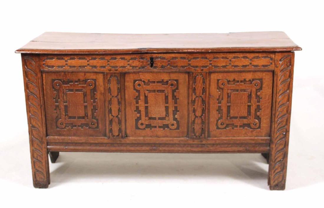 Jacobean Carved Oak Blanket Chest - 3