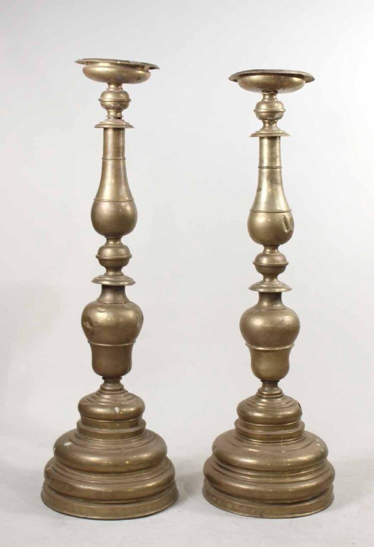 Pair of Baroque Style Brass Altar Candlesticks