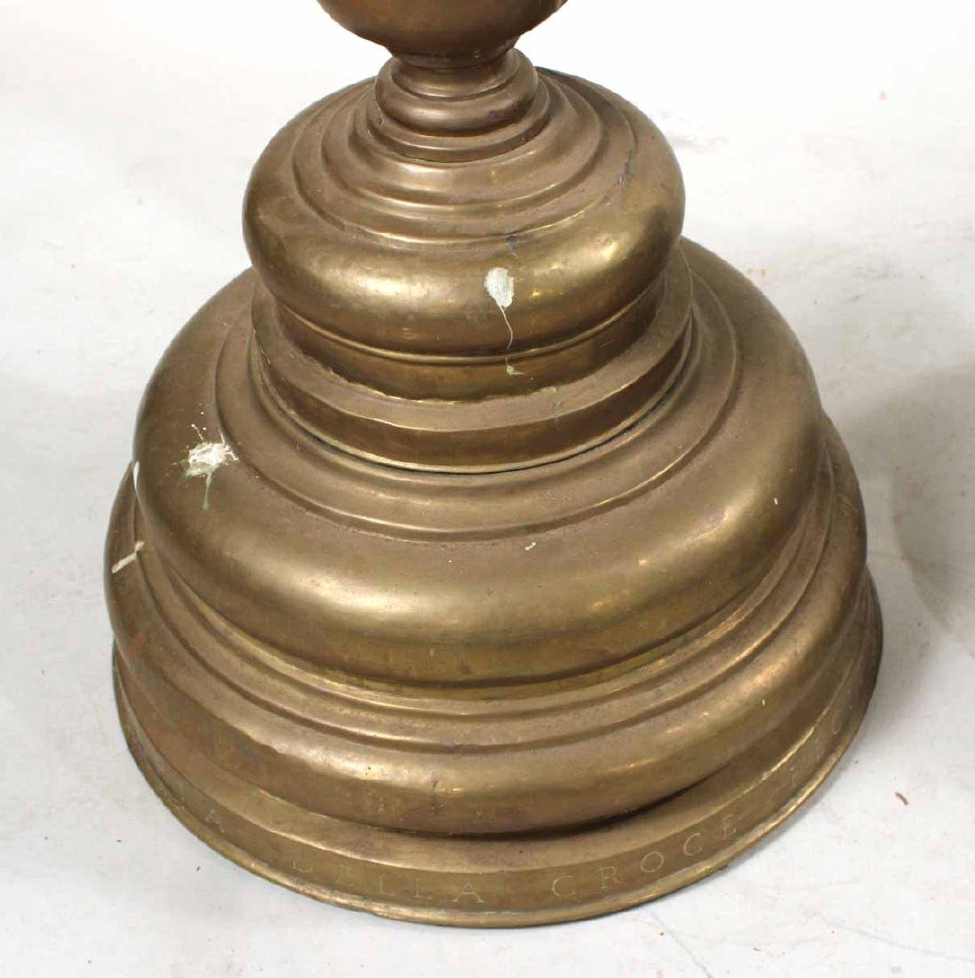Pair of Baroque Style Brass Altar Candlesticks - 7