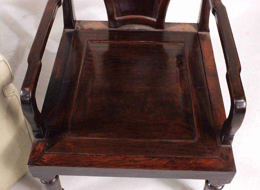 Pair of Chinese Hardwood Armchairs - 7