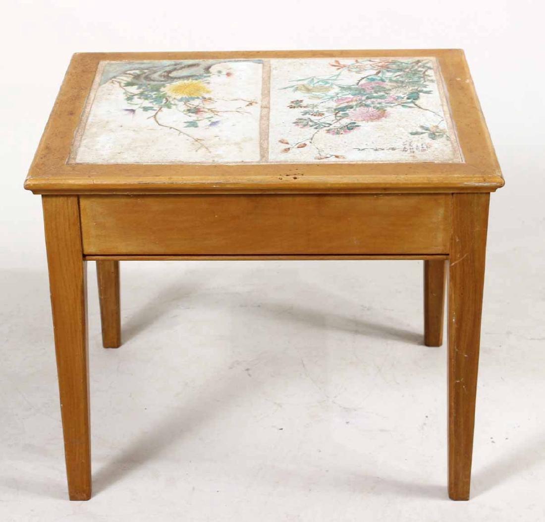 Porcelain Tile Inset Maple Table