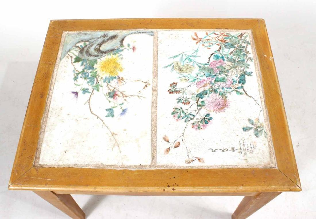 Porcelain Tile Inset Maple Table - 2