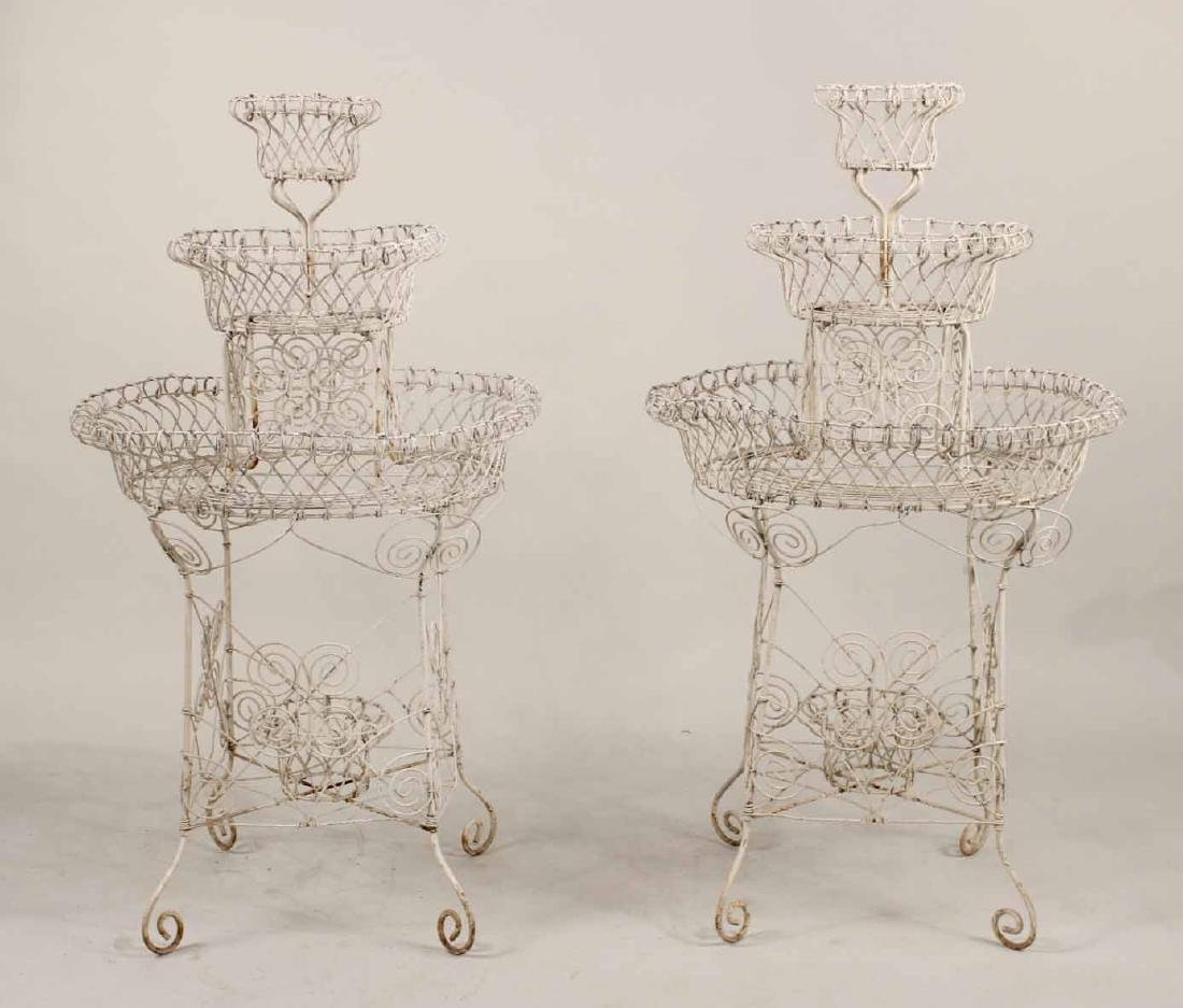 Pair of Victorian Style Wire-Work Plant Stands