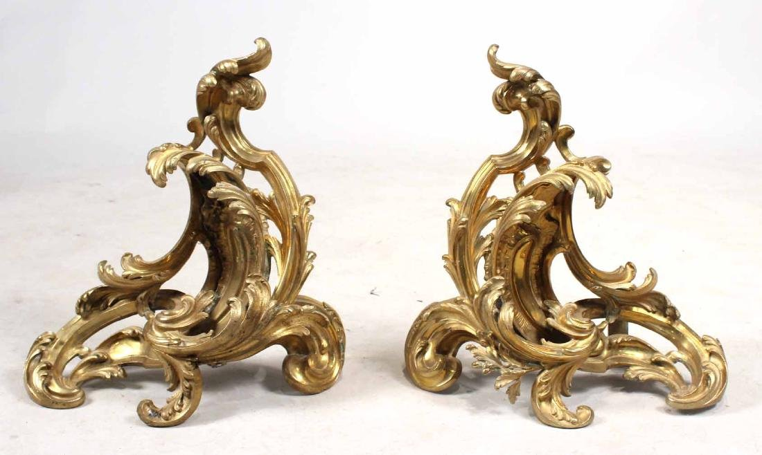 Pair of Louis XV Style Gilt-Bronze Chenets