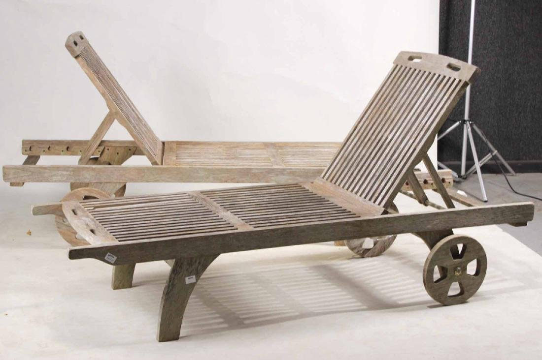 Pair of Weathered Teak Chaise Lounges - 2